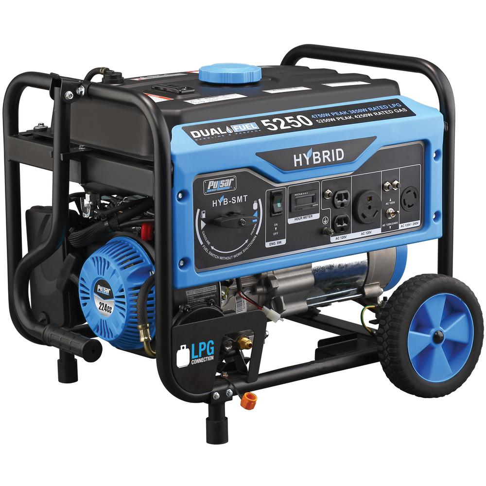 Pulsar 5,250/4,250-Watt Dual Fuel Gasoline/Propane Powered Recoil Start Portable Generator 224 cc CARB Compliant