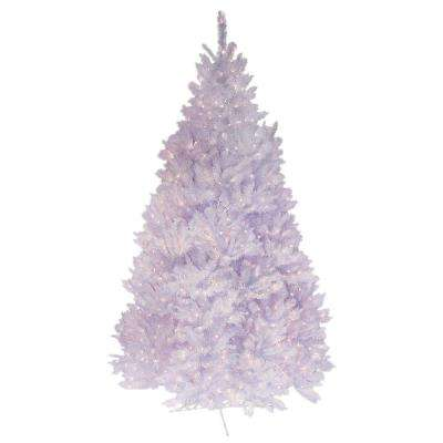 7.5 ft. Pre-Lit Deluxe Winter White Fir Artificial Christmas Tree with Clear Lights