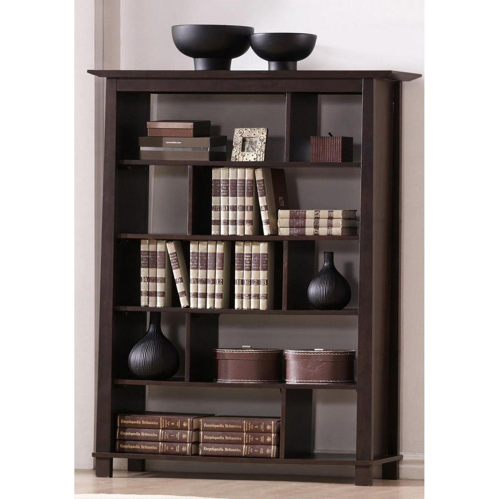 baxton studio havana dark brown wood 5 tier open shelf - Wood Bookshelves