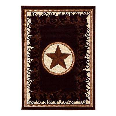 Traditions Western Star w/Cowboy Design Black 5 ft. x 7 ft. Area Rug