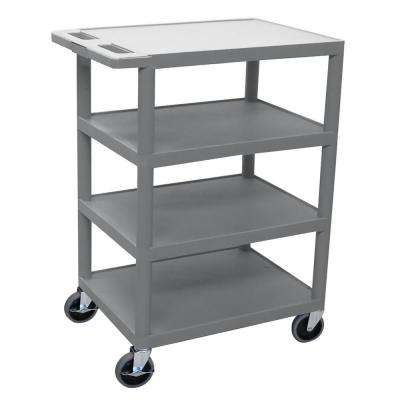 BC 24 in. 4-Shelf  Plastic Utility Cart in gray
