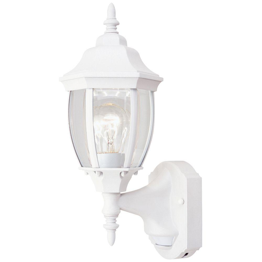 Hampton Bay 1 Light White Motion Activated Outdoor Wall Mount Dusk To Dawn Control Wiring Diagram For Garage Windsor Mill Collection Lantern