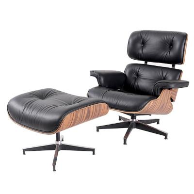 Black Leather Palisander Swivel with Ottoman Set Chair