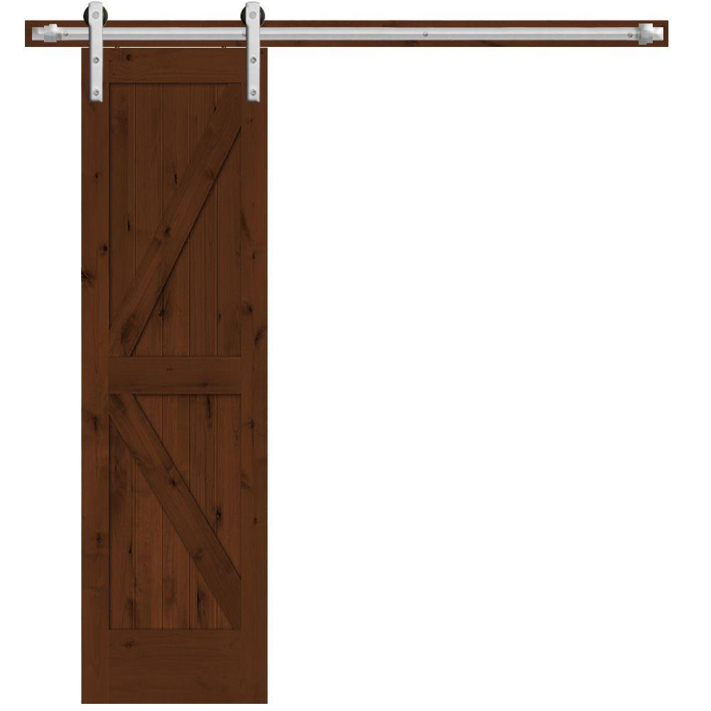 Steves sons 24 in x 84 in rustic 2 panel stained for Interior barn door installation
