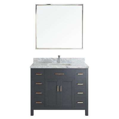 Kalize II 42 in. W x 22 in. D Vanity in Pepper Gray with Marble Vanity Top in Gray with White Basin and Mirror