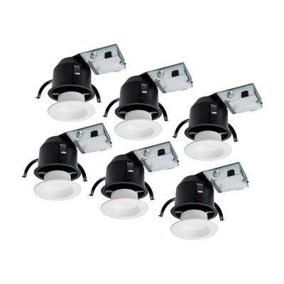 RL 4 in. Ultra Shallow Remodel Ceiling Housing and Dimmable White Integrated LED Recessed Light Kit, T24 Rated (6-Pack)