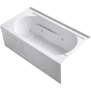 Kohler Devonshire 5 ft. Right-Hand Drain Farmhouse Rectangular Alcove Apron-Front Whirlpool Bathtub in White by KOHLER
