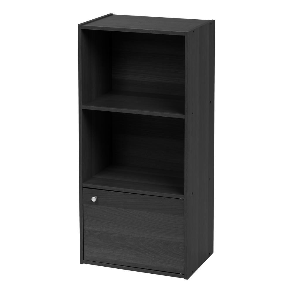 Black 3-Tier Wood Storage Shelf with Door