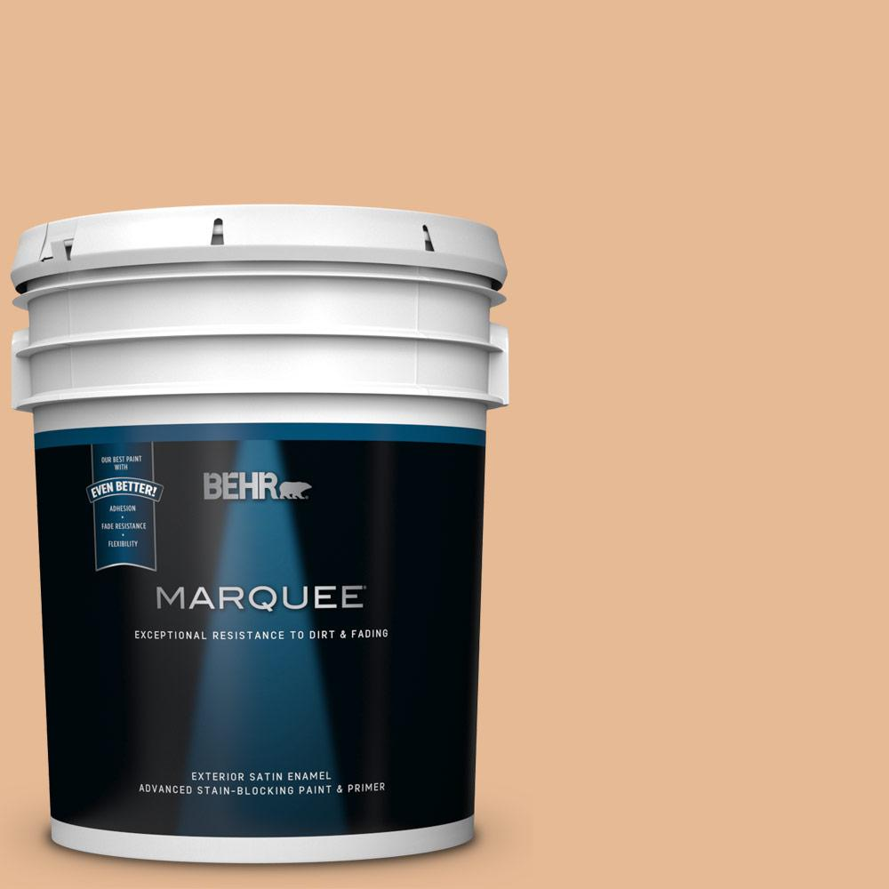 Behr Marquee 5 Gal 280c 3 Fresh Praline Satin Enamel Exterior Paint And Primer In One 945405 The Home Depot