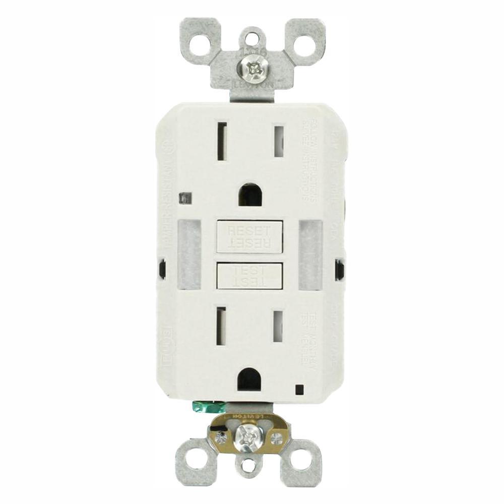 15 Amp Self-TestSmartlockPro Combo Duplex Guide Light and Tamper Resistant GFCI Outlet, White (3-Pack)