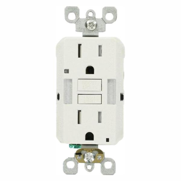 15 Amp Self-Test SmartlockPro Combo Duplex Guide Light and Tamper Resistant GFCI Outlet, White (3-Pack)