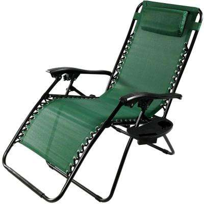 Oversized Forest Green Zero Gravity Sling Patio Lounge Chair with Cupholder