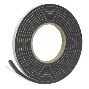3/8 in. X 3/16 in. X 10 ft. Black High-Density Rubber Foam Weatherstrip Tape