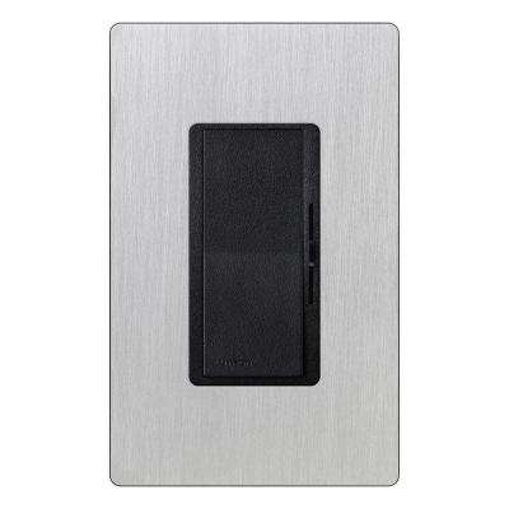 Diva 600-Watt Single-Pole Preset Dimmer - Black with Stainless Steel Wall Plate