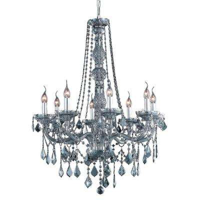 8-Light Silver Shade Chandelier with Grey Crystal