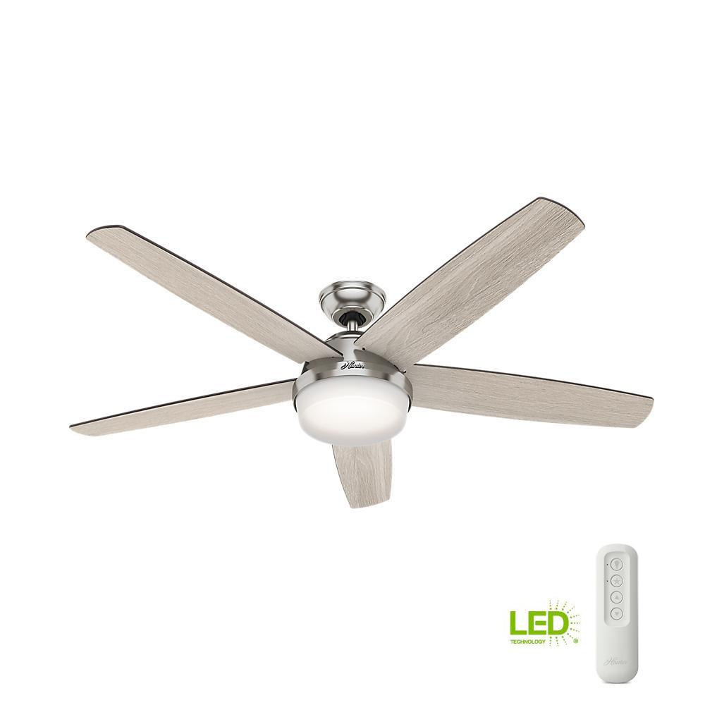 Salido 60 In Led Indoor Brushed Nickel Ceiling Fan With Light And Remote