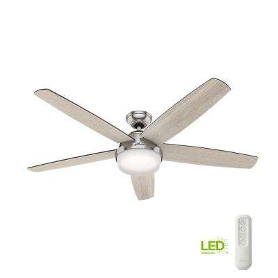 Salido 60 in. LED Indoor Brushed Nickel Ceiling Fan with Light and Remote