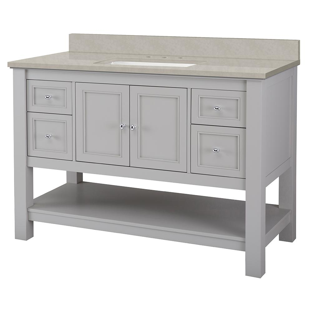 Home Decorators Collection Gazette 49 in. W x 22 in. D Vanity Cabinet in Grey with Engineered Marble Vanity Top in Dunescape with White Sink