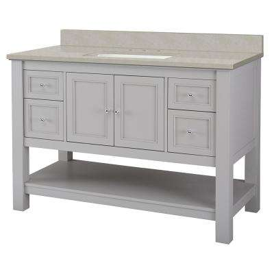 Gazette 49 in. W x 22 in. D Vanity Cabinet in Grey with Engineered Marble Vanity Top in Dunescape with White Sink