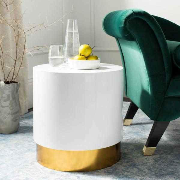 Safavieh Angelo White and Gold Side Table ACC3203A