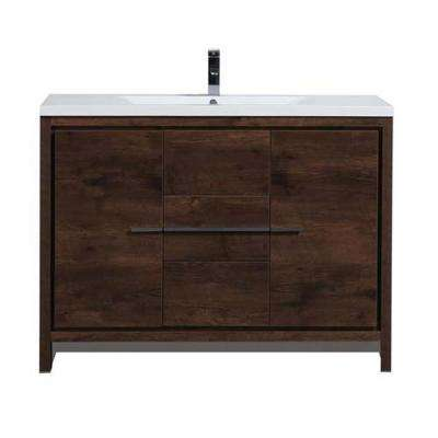 Dolce 48 in. W Bath Vanity in Rosewood with Reinforced Acrylic Vanity Top in White with White Basin