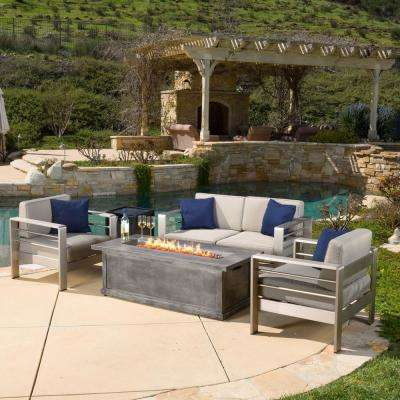 Cape C Khaki 5 Piece Aluminum Patio Fire Pit