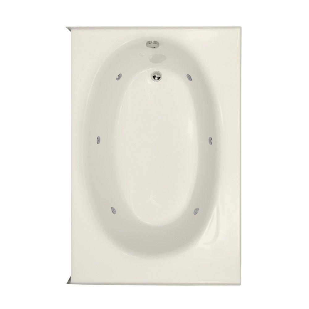 Kona 5 ft. Left Drain Whirlpool Tub in Biscuit