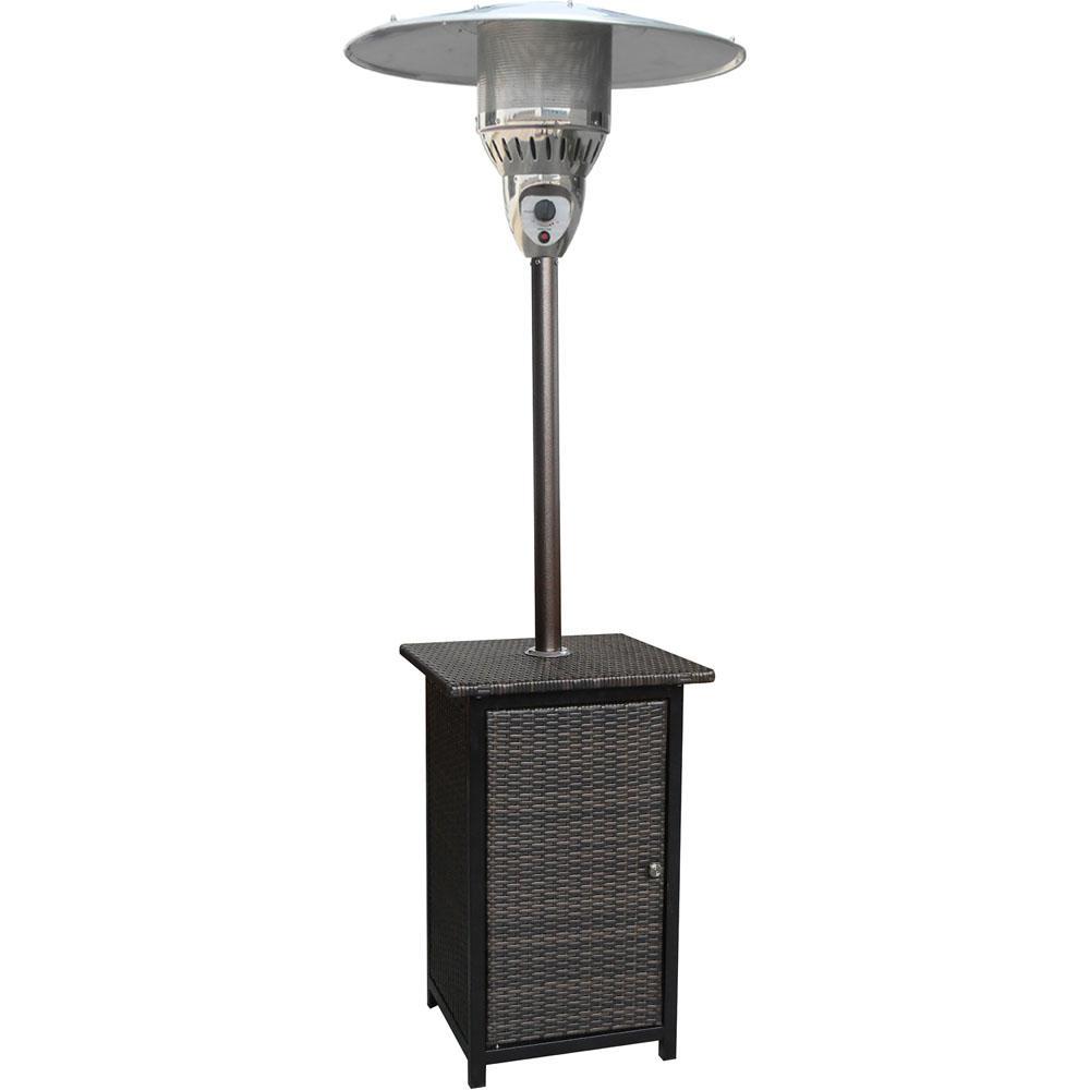 7 ft. 48,000 BTU Brown Square Wicker Propane Gas Patio Heater