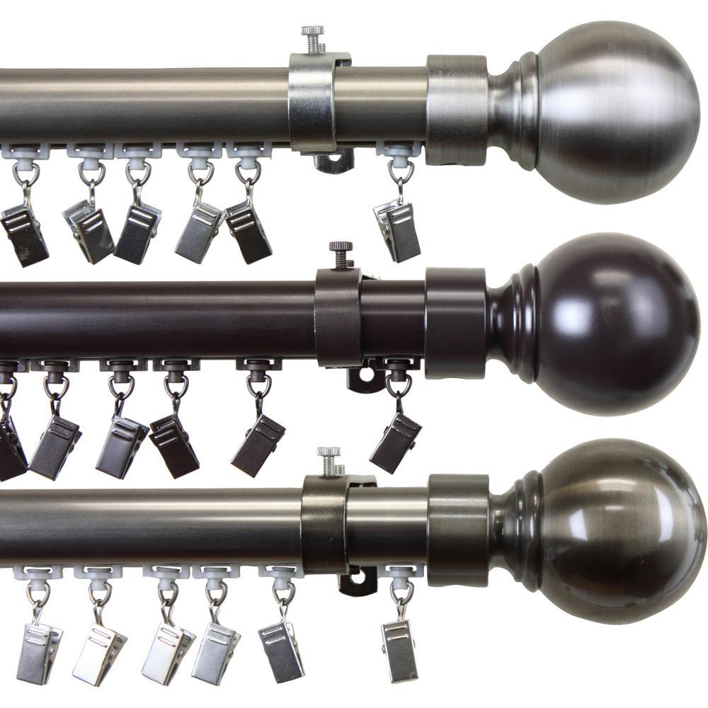 Ball Traverse Rod 36 in. x 72 in. in Brass Nickel