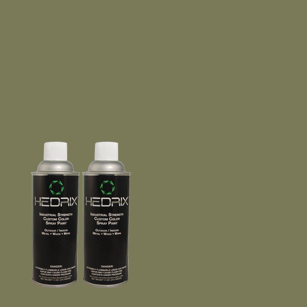Hedrix 11 oz. Match of 3B59-6 Mountain Grass Flat Custom Spray Paint (2-Pack)