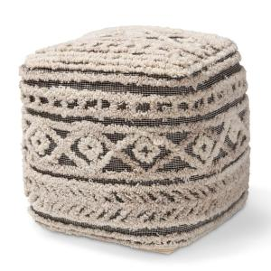 Outstanding Baxton Studio Cronin Beige And Brown Pouf Ottoman 158 9715 Pdpeps Interior Chair Design Pdpepsorg