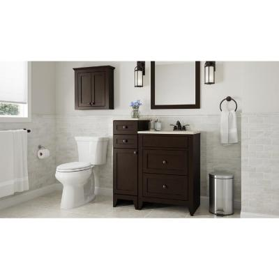 Modular 12-1/2 in. W Bathroom Vanity Storage Cabinet in Java with Solid Surface Technology Top in Cappuccino