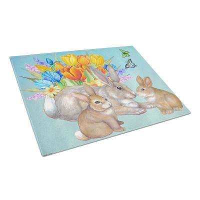 Bunny Family Easter Rabbit Tempered Glass Large Cutting Board