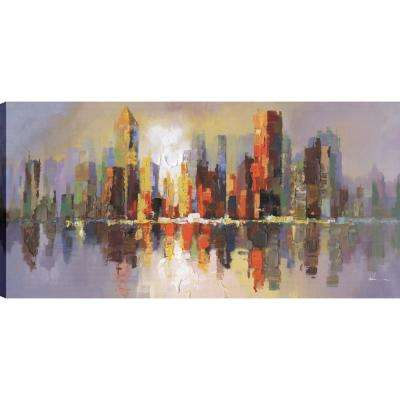 City Reflections, Landscape Art, Unframed Canvas Print Wall Art 24X48 Ready to hang by ArtMaison.ca