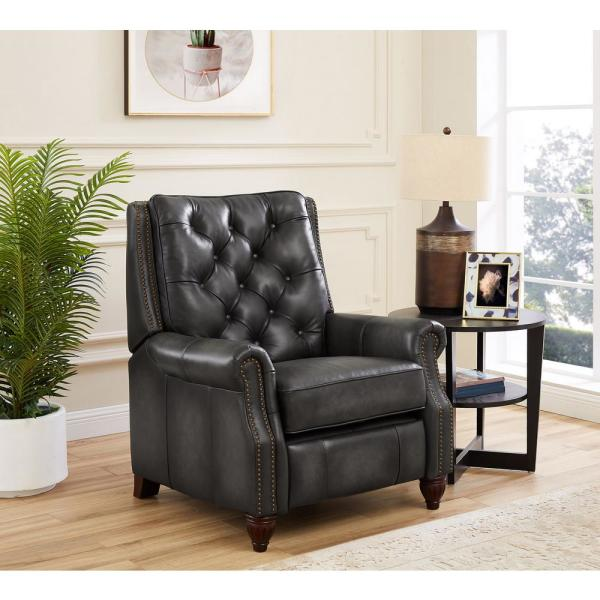 Baron Gray 100% Leather Recliner
