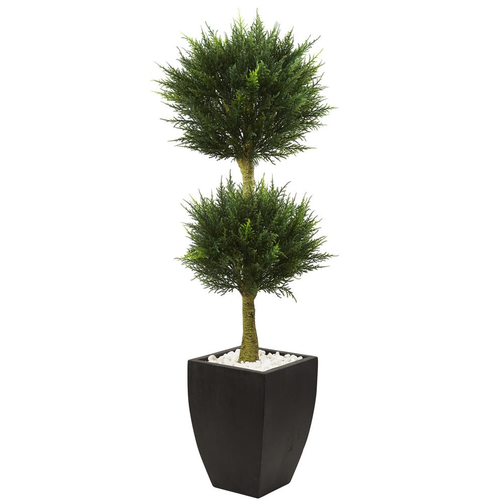 4.5 ft. Cypress Topiary with Black Planter UV Resistant (Indoor/Outdoor)