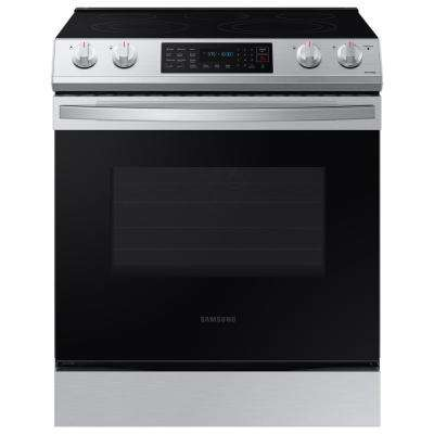 30 in. 6.3 cu. ft. Slide-In Electric Convection Range Oven in Fingerprint Resistant Stainless Steel