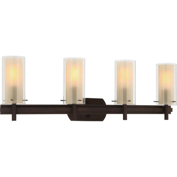 Regina 4-Light 8 in. Antique Bronze Bathroom Vanity Wall Sconce Mount Outer Clear and Inner Amber Glass Cylinder Shades