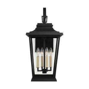 Warren 12 in. Large 4-Light Textured Black Outdoor Wall Mount Lantern with Clear Glass Panels