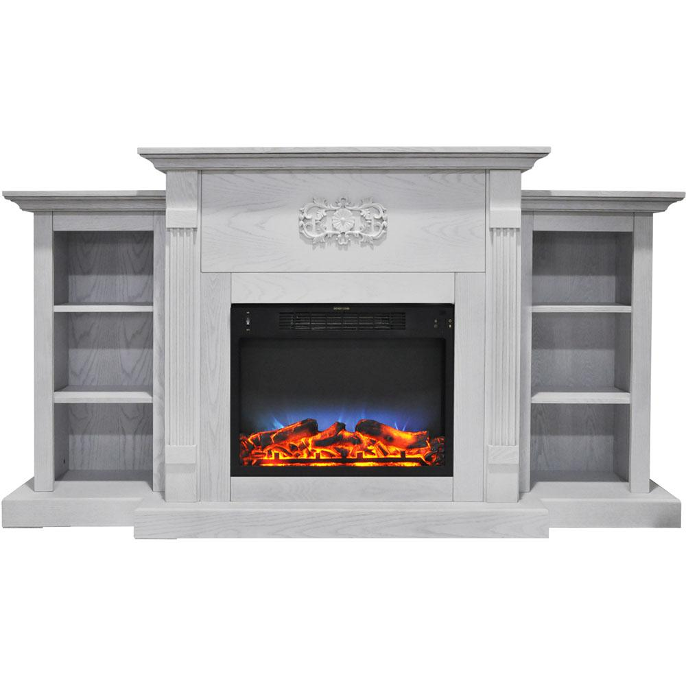 Electric Fireplace In White With Built In Bookshelves And A