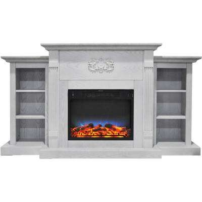 Sanoma 72 in. Electric Fireplace in White with Built-in Bookshelves and a Multi-Color LED Flame Display