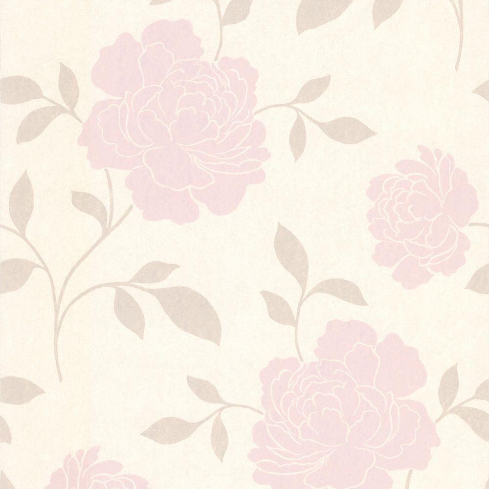 null Clara Blush Floral Silhouette Wallpaper