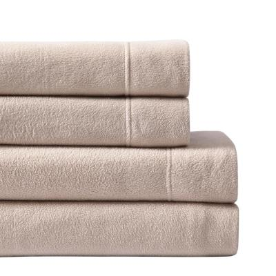 4-Piece Taupe Solid King Sheet Set