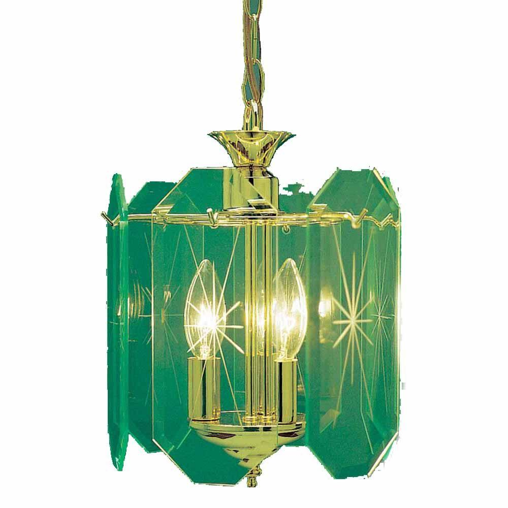 IMAX Lenor 3-Light Ceiling Polish Brass Fluorescent Chandelier