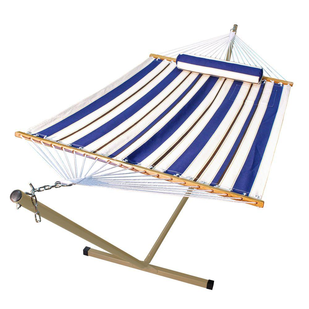 Fabric Hammock And 12 Ft. Steel Stand With Matching Pillow