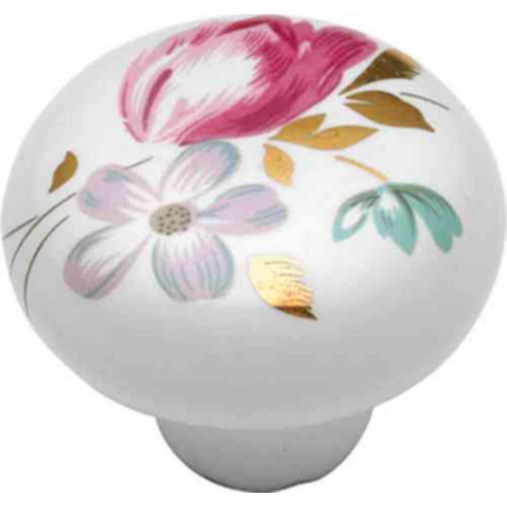 Hickory Hardware English Cozy 1-3/8 in. White/Pink Flower Cabinet Knob