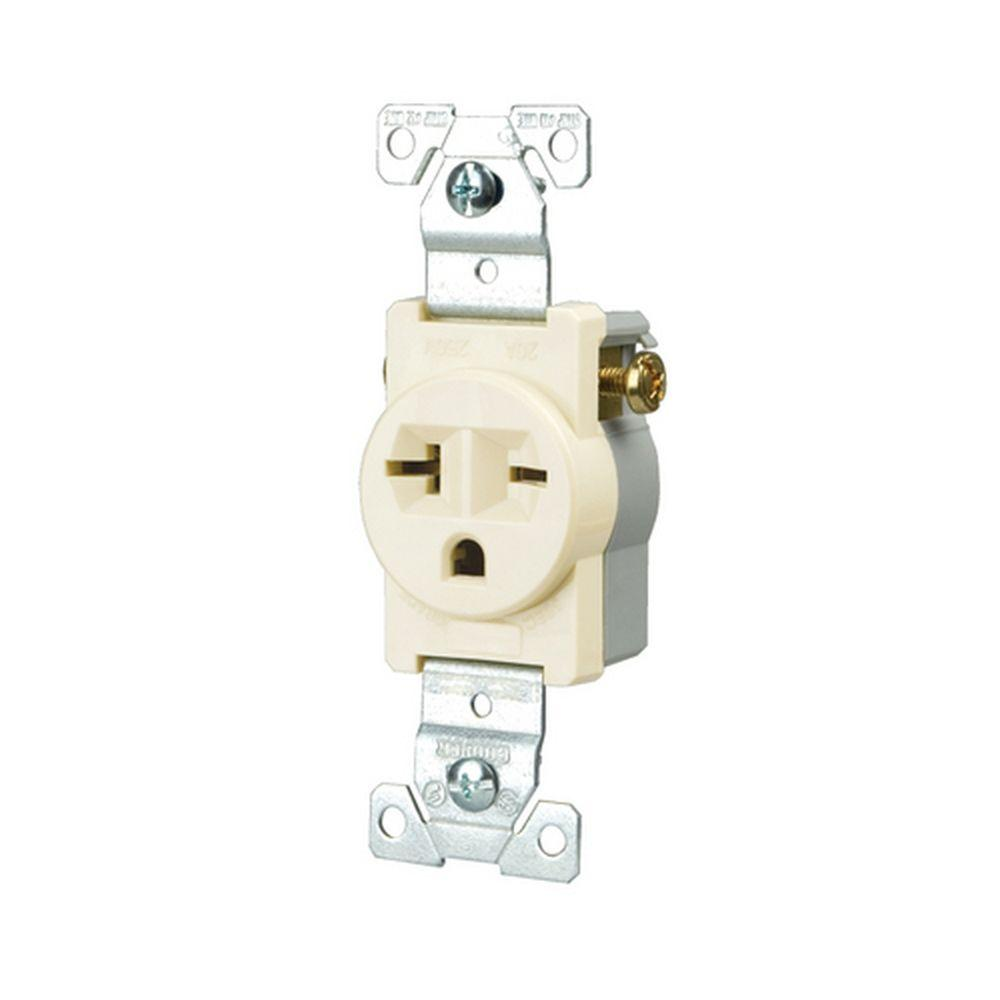 Eaton Commercial Grade 20 Amp Straight Blade Single Receptacle With Wiring Light Switch Outlet Side Almond