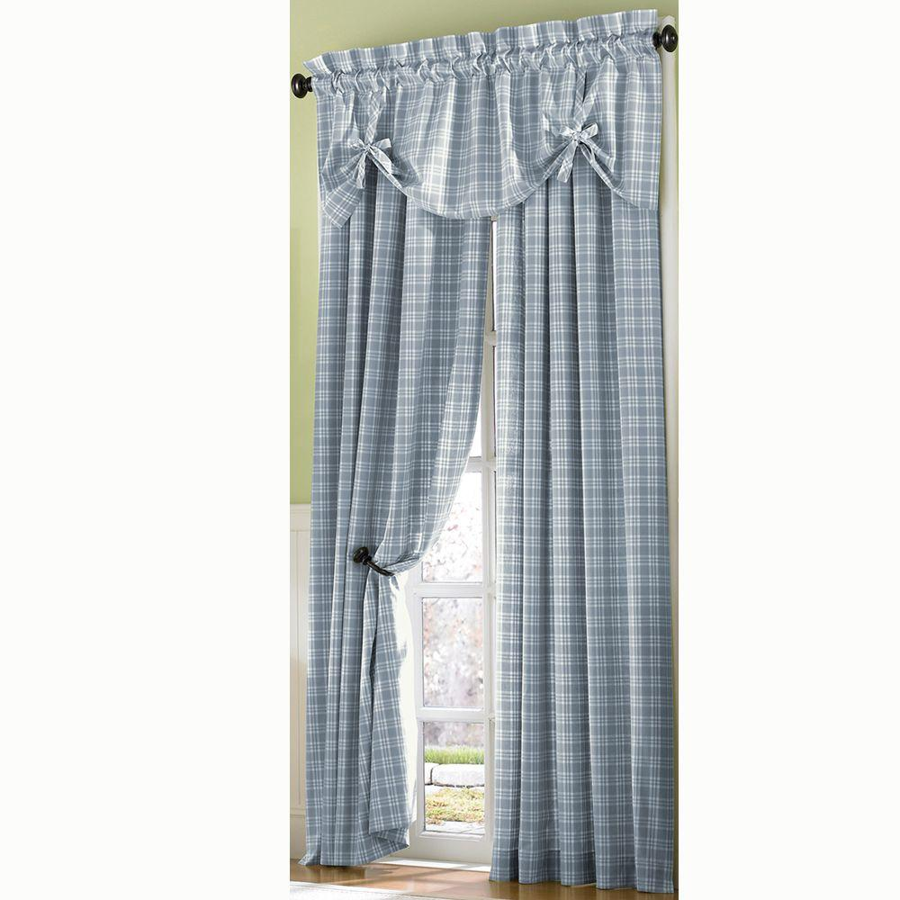 Curtainworks Semi-Opaque Light BlueCountry Plaid Cotton Panel- 50 in. W x 63 in. L