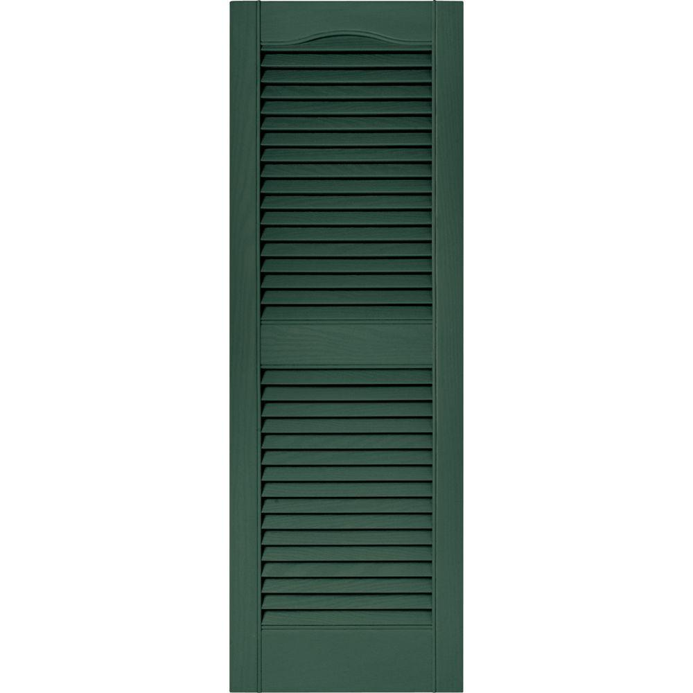 Builders Edge 15 in. x 43 in. Louvered Vinyl Exterior Shutters Pair in #028 Forest Green