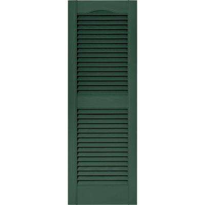 15 in. x 43 in. Louvered Vinyl Exterior Shutters Pair in #028 Forest Green